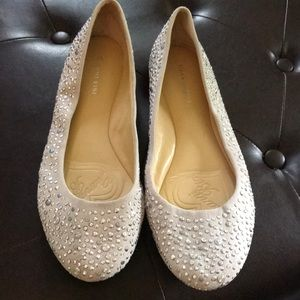 Silver Studded Cream Flats